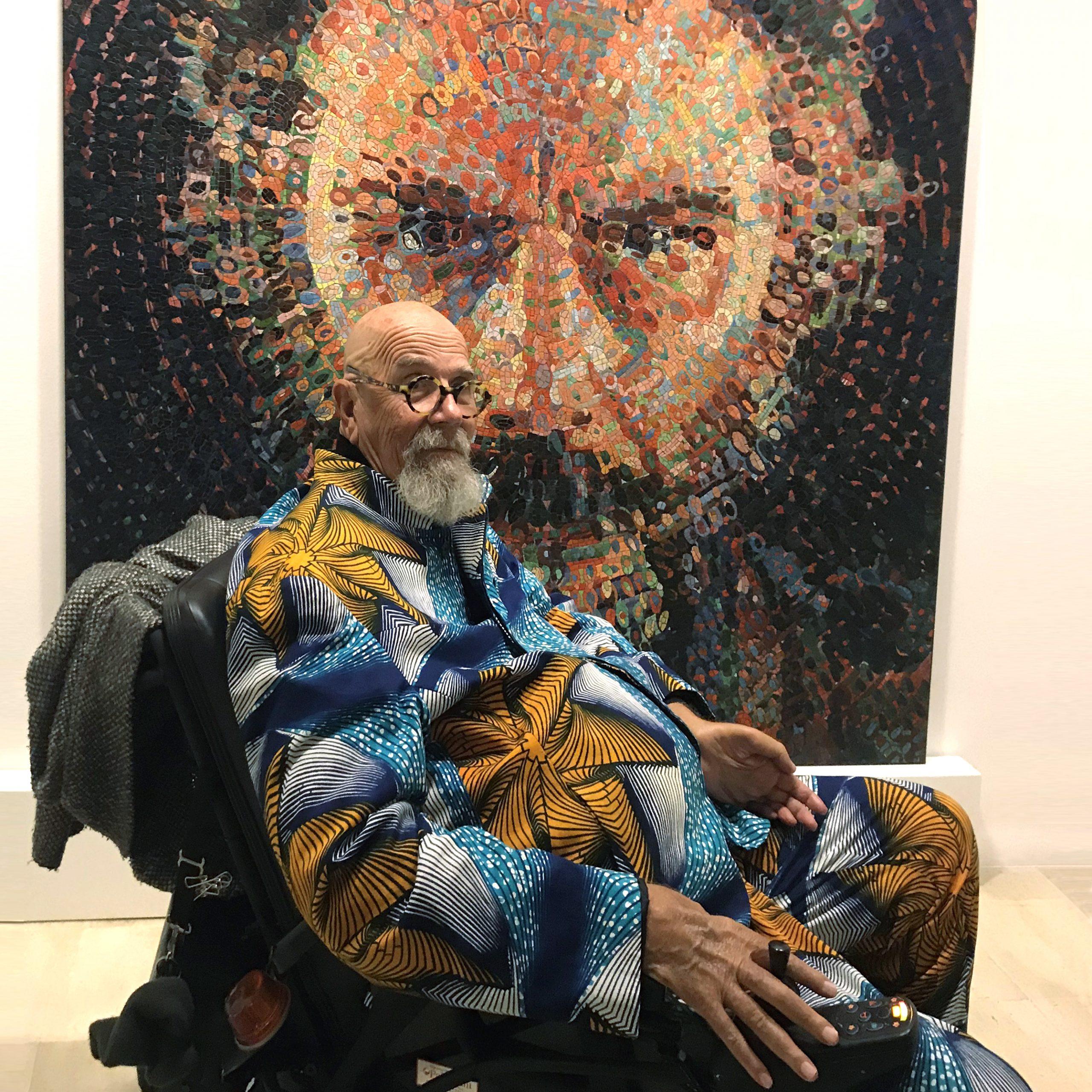 Chuck Close with Lucas portrait
