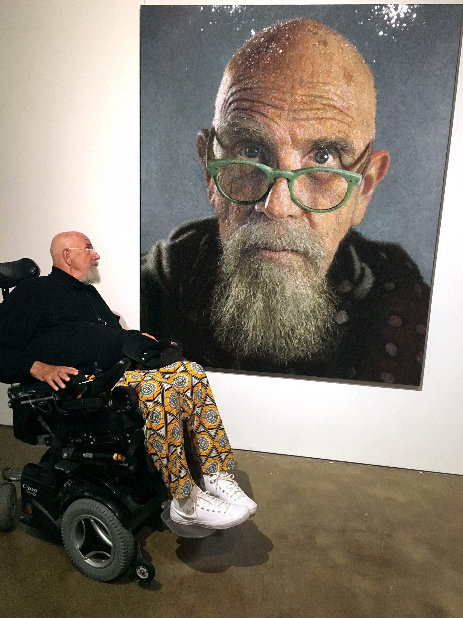 artist with self-portrait